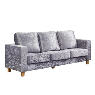 An Image of Wasp Crushed Velvet 3 Seater Sofa In Silver
