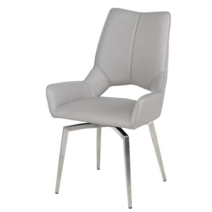 An Image of Halle Swivel Dining Chair In Taupe Faux Leather