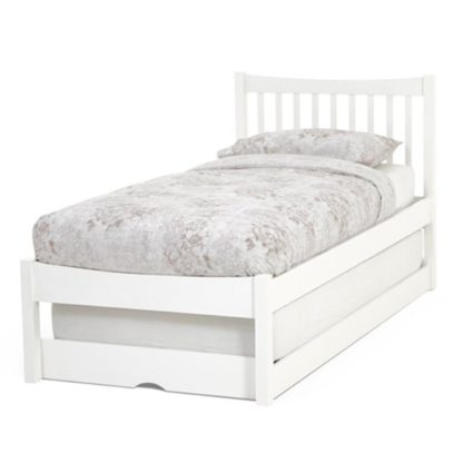 An Image of Alice Hevea Wooden Single Bed With Guest Bed In Opal White