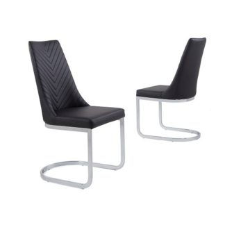 An Image of Roxy Modern Dining Chair In Black Faux Leather in A Pair