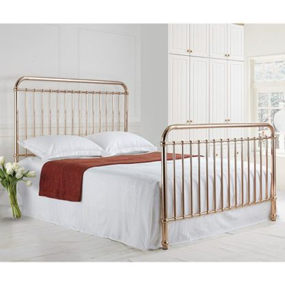 An Image of Rose Classic Metal King Size Bed In Rose Gold