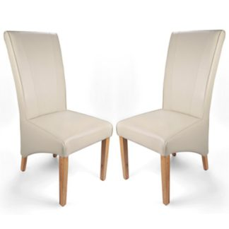 An Image of Marseille Matt Bonded Leather Ivory Dining Chairs In Pair