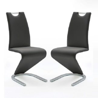 An Image of Amado Z Black Faux Leather Dining Chair In A Pair