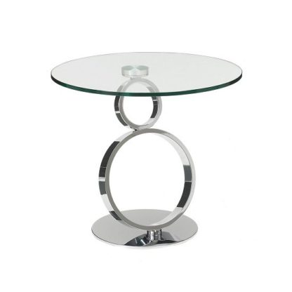 An Image of Donatella Glass Side Table And Polished Stainless Steel Base
