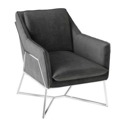An Image of Lara Velvet Fabric Lounge Chair In Dark Grey