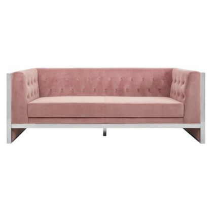 An Image of Sceptrum 3 Seater Fabric Sofa In Pink Velvet