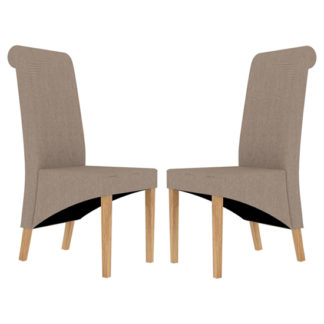 An Image of Amelia Beige Finish Dining Chair In Pair