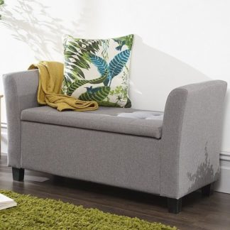 An Image of Charter Modern Fabric Ottoman Seat In Grey With Wooden Feet