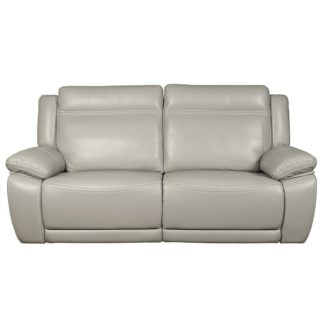 An Image of Baxter Recliner 3 Seater Sofa In Light Grey Leather Air Fabric