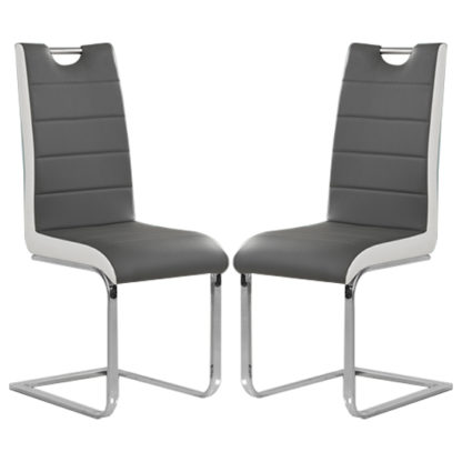 An Image of Petra Grey And White Faux Leather Dining Chairs In Pair
