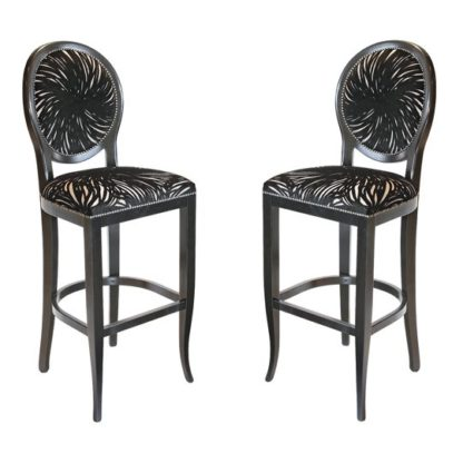 An Image of Adelaide Black Fabric Bar Stool In Pair