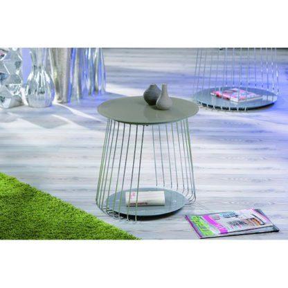 An Image of Rivoli Glass Top End Table With Satin Chrome
