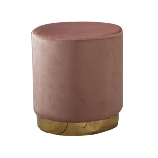 An Image of Lara Velvet Pouffe In Dusty Pink