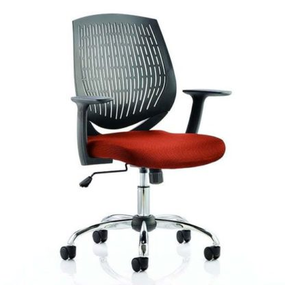 An Image of Dura Black Back Office Chair With Tabasco Red Seat