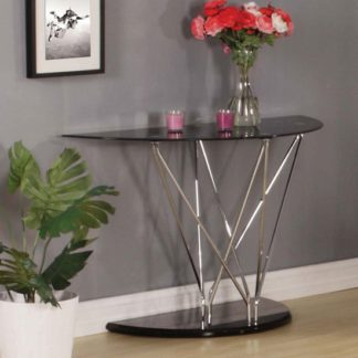 An Image of Toulouse Console Table In Black Glass And Chrome Legs