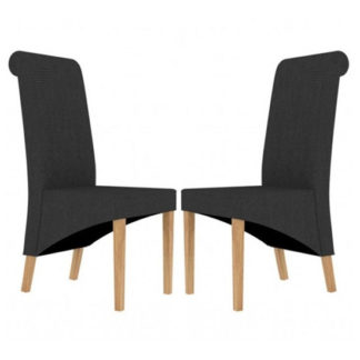 An Image of Amelia Charcoal Fabric Dining Chair In Pair
