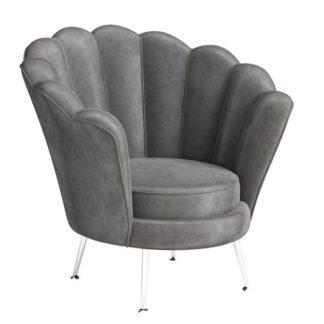 An Image of Erica Velvet Fabric Lounge Chair In Dark Grey