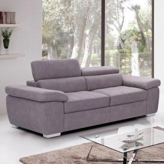 An Image of Amando Fabric 3 Seater Sofa In Mushroom