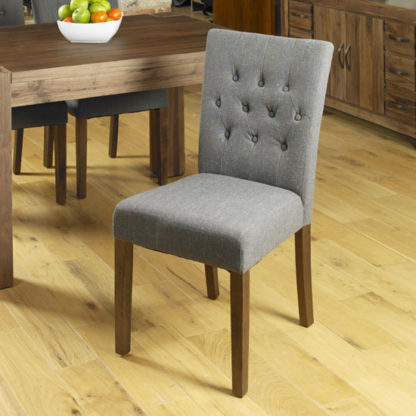 An Image of Novian Dining Chair In Slate With Walnut Legs In A Pair