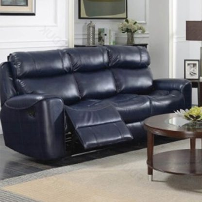 An Image of Mebsuta Leather 3 Seater Sofa In Navy