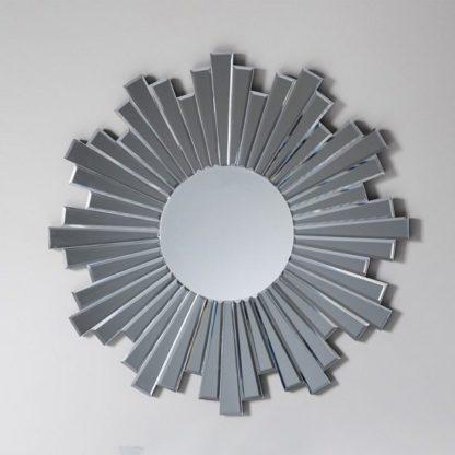 An Image of Damien Round Wall Mirror With Starburst Design