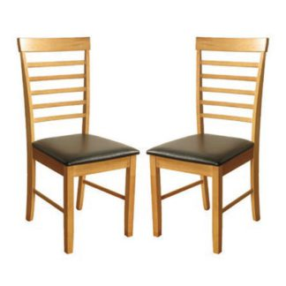 An Image of Marsic Light Oak Dining Chair In Pair