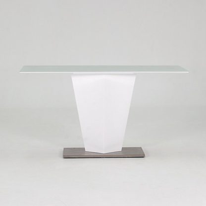 An Image of Stella Console Table In Frosted Glass And White Gloss Metal Base