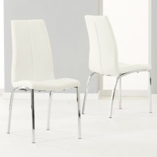 An Image of Lupus White Leather Dining Chairs In Pair