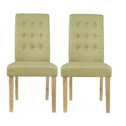 An Image of Heskin Dining Chair In Green Linen Style Fabric in A Pair
