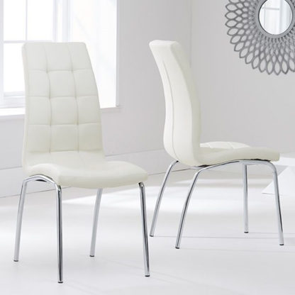 An Image of Grus Cream Leather Dining Chairs In Pair