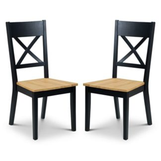 An Image of Hockley Black And Oak Dining Chair In Pair