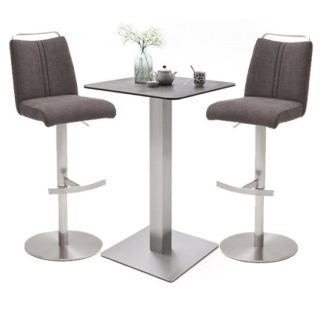 An Image of Soho Glass Bar Table With 2 Giulia Brown Fabric Stools