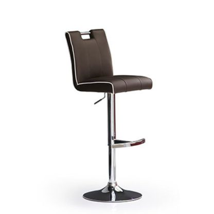 An Image of Casta Brown Bar Stool In Faux Leather With Round Chrome Base