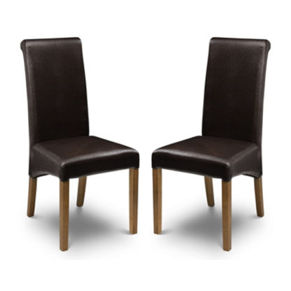 An Image of Cuba Brown Faux Leather Dining Chair In Pair