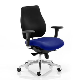 An Image of Chiro Plus Black Back Office Chair With Stevia Blue Seat