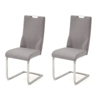 An Image of Jiulia Ice Grey Leather Cantilever Dining Chair In A Pair