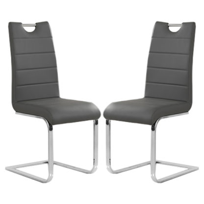 An Image of Petra Grey Faux Leather Dining Chairs In Pair