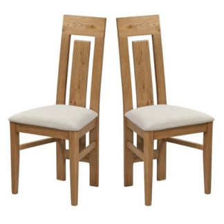 An Image of Capre Wooden Dining Chairs In Rustic Oak In A Pair