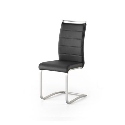 An Image of Scala Dining Chair In Black PU With Brushed Stainless Steel Legs