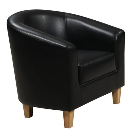 An Image of Leporis PU Leather 1 Seater Sofa In Black