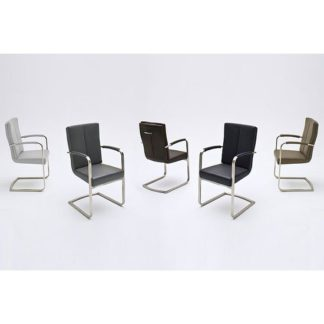 An Image of Luna Swinging Dining Chair In Brown Faux Leather With Armrest