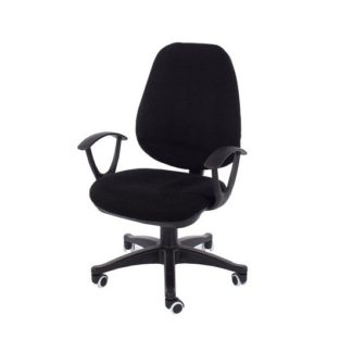 An Image of Paula Fabric Office Chair In Black With Adjustable Height
