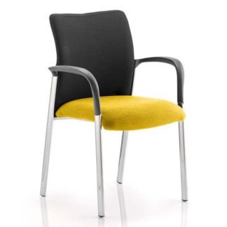 An Image of Academy Black Back Visitor Chair In Senna Yellow With Arms