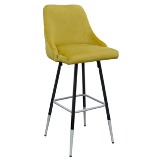 An Image of Fiona Yellow Fabric Bar Stool With Metal Legs