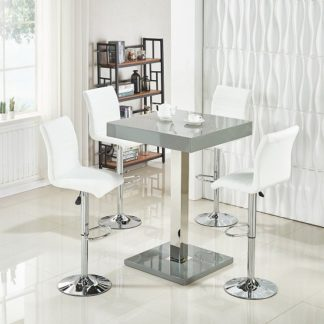An Image of Topaz Bar Table In Grey High Gloss With 4 Ripple White Stools