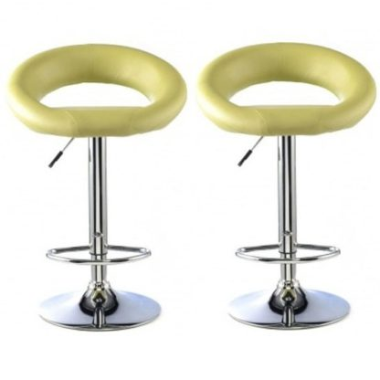 An Image of Murry Bar Stool In Lime Faux Leather In A Pair