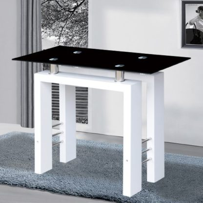 An Image of Kontrast Console Table In Black Glass With White High Gloss