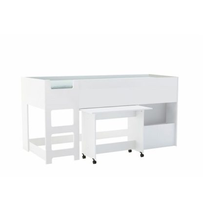 An Image of Fairy Childrens Bed In Matt White With Desk