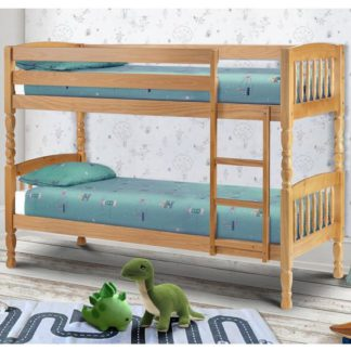 An Image of Lincoln Solid Pine Wide Bunk Bed In Antique Low Sheen