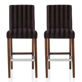 An Image of Alden Bar Stools In Aubergine Fabric And Walnut Legs In A Pair